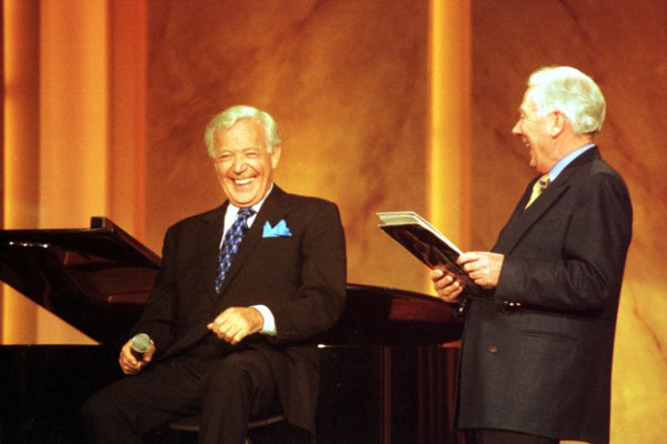 Val and Gay Byrne share a laugh. Picture: Photocall Ireland