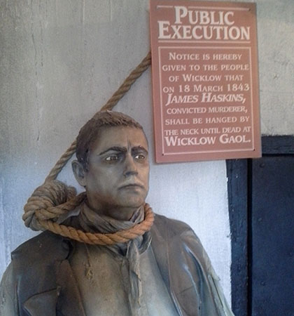 A statue of James Haskins, the last man to be hanged at Wicklow Gaol