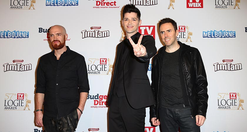 Danny O'Donoghue (C), Mark Sheehan and Glen Power of the The Script  in Melbourne, Australia.  (Photo by Ryan Pierse/Getty Images)