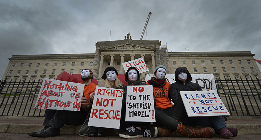 Sex workers at Stormont in Belfast, Northern Ireland before the vote on the Bill that made it a crime for anyone to pay for sex. (Photo by Charles McQuillan/Getty Images)