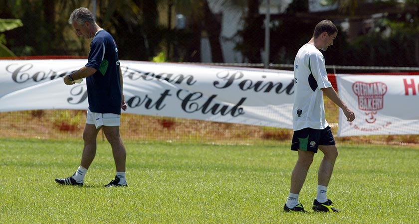 World Cup 2002 Republic of Ireland 21/5/2002 Manager Mick McCarthy and Roy Keane pass each other during training Mandatory Credit ©INPHO/Andrew Paton