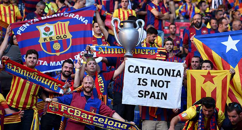 Barcelona fans with their 'estelades' (Catalan pro-independence flags) [Picture: Getty]
