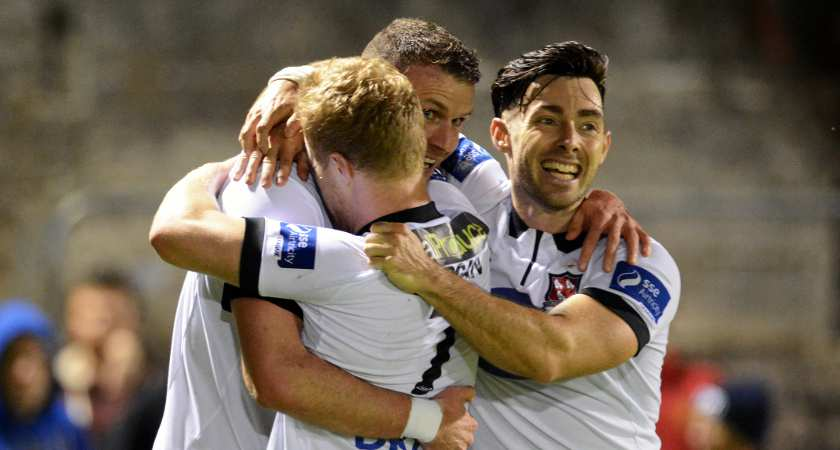 Towell celebrates a Ciaran Kilduff goal for Dundalk [Picture: Inpho]