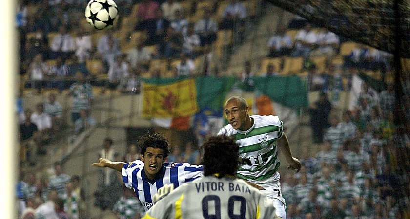 Henrik Larsson of Celtic scores his first goal during the 2003 UEFA Cup final [Picture: Inpho]