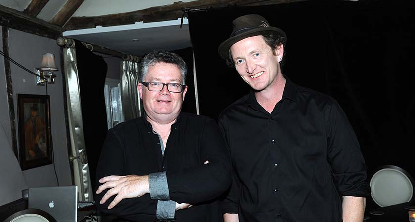 Gerry Logue, the man behind The Garret Sessions, pictured left with John Doyle. Photo - Malcolm McNally