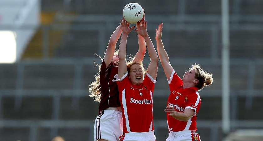 Cork's Rena Buckley and Briege Corkery with Louise Ward of Galway [Picture: Inpho]