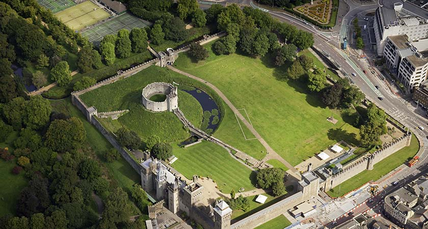 Aerial view of Cardiff Castle  (All images © Crown copyright Visit Wales)