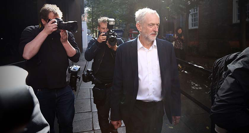 Newly elected Labour Party leader Jeremy Corbyn leaves the Labour Party headquarters   (Photo by Carl Court/Getty Images)