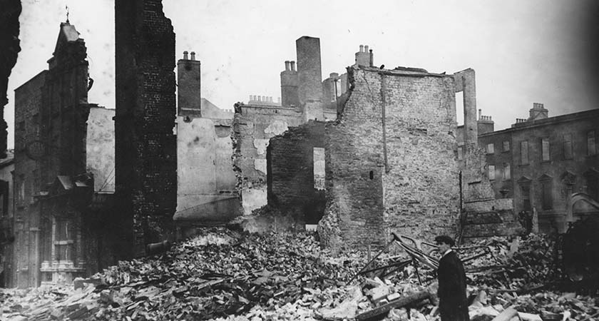 1st May 1916: A ruined house, destroyed during the Easter Rising in Dublin. (Photo by Topical Press Agency/Getty Images)