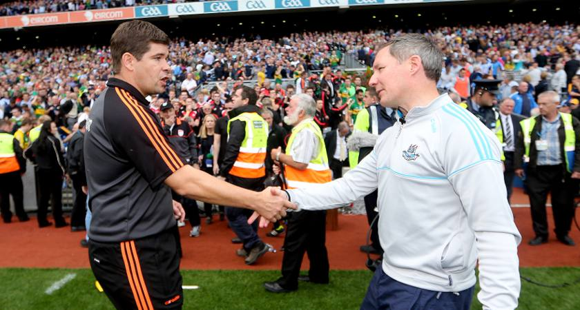 Eamonn Fitzmaurice, left, and Jim Gavin met again at Croke Park last Sunday [Picture: Inpho]