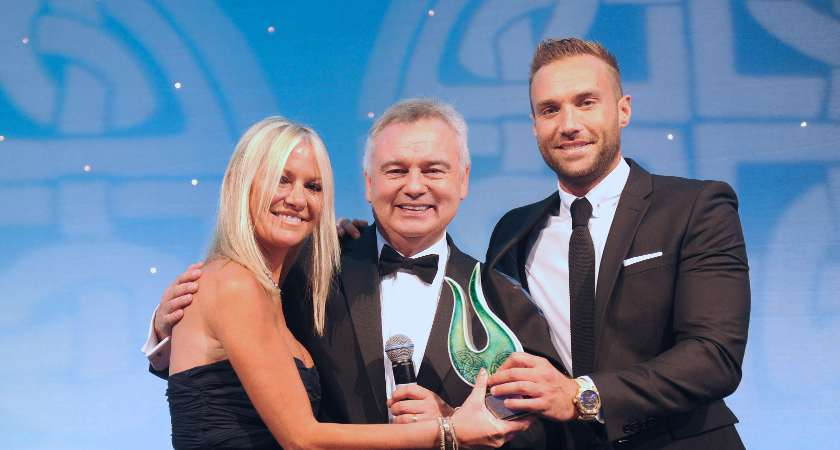 An Outstanding Contribution to Sport Award was posthumously awarded to footballer George Best and accepted by his son Calum Best at the 2015 Irish Post Awards [Picture: Malcolm McNally]