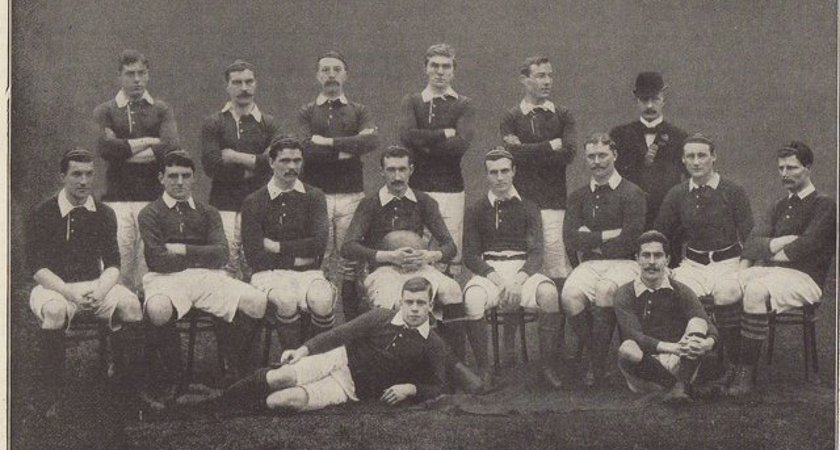 Irish rugby team in 1896, including George McAllan [Picture courtesy of IRFU archives via Merrion Press]