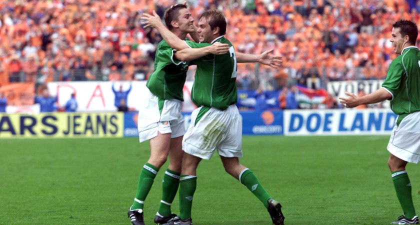 Jason McAteer celebrates his famous goal against Holland [Picture: Inpho]