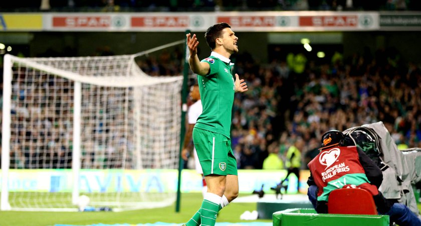 Long celebrates in front of the Ireland fans against Germany [Picture: Inpho]