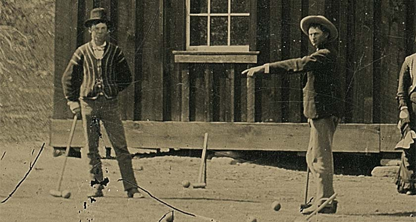 Part of the original photo depicting Billy the Kid, left, playing croquet in 1878. (Photo: Kagin's)
