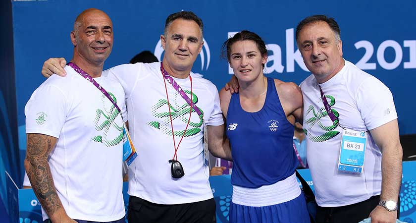 Baku 2015 European Games, Crystal Hall, Baku, Azerbaijan 27/6/2015 Women's Light 57 - 60kg Final Ireland's Katie Taylor (Blue) celebrates with her coaches Pete Taylor, Zaur Anita and Billy Walsh Billy Walsh and Mandatory Credit ©INPHO/Ryan Byrne