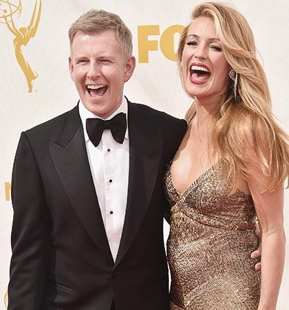 Comedian Patrick Kielty and Cat Deeley at the 67th Emmy Awards in Los Angeles in 2015 (Photo by Alberto E. Rodriguez/Getty Images for TNT LA)