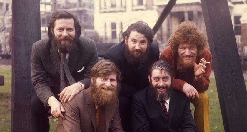 circa 1970:  Bearded Irish pop group The Dubliners in London. Originally founded in the sixties, they were still prevalent in the late nineties.  (Photo by Keystone/Getty Images)
