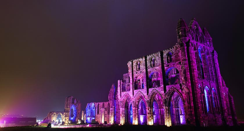 Whitby Abbey was part of the inspiration for Bram Stoker's novel, Dracula, and sits on East Cliff in the town in a commanding position overlooking the North Sea. (Photo by Ian Forsyth/Getty Images)