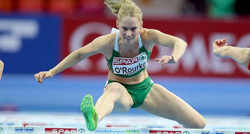 2013 European Athletics Indoor Championships, Scandinavium Arena, Gothenburg, Swedan 1/3/2013 60m Hurdles Semi-Final Derval O'Rourke on her way to finishing in 4th position in the Women's 60m Hurdles semi-final, qualifying for this evening's final Mandatory Credit ©INPHO/Morgan Treacy