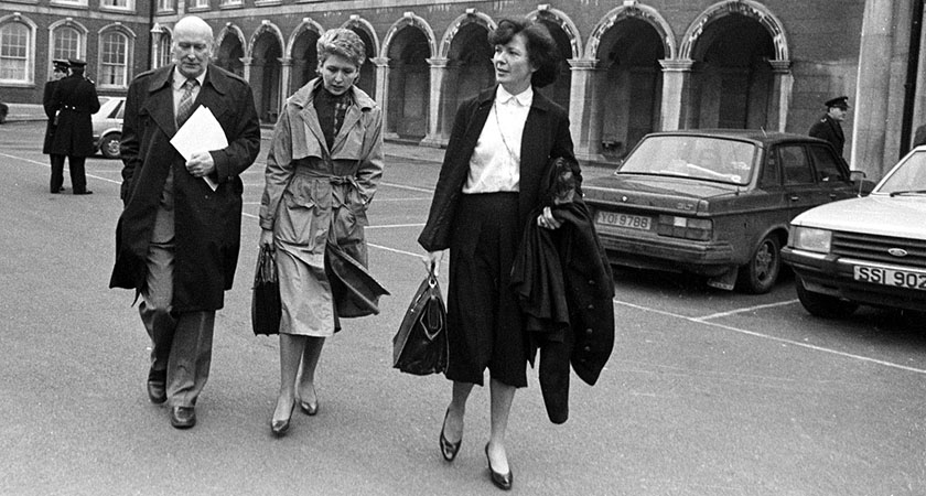 MARY MCALEESE (C) AND MARY ROBINSON(R) LEAVE A SESSION OF THE NEW IRELAND FORUM IN 1984 WHICH WAS HELD IN DUBLIN CASTLE. PIC EAMONN FARRELL/RollingNews.ie