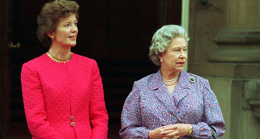 Irish President Mary Robinson with the Queen Elizabeth of England outside Buckingham Palace London in 1993 Photo: RollingNews.ie