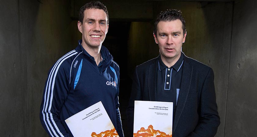 Offaly footballer Niall McNamee and Oisin McConville at the Launch of GAA/GPA Gambling Guidelines last year [Picture: Inpho]
