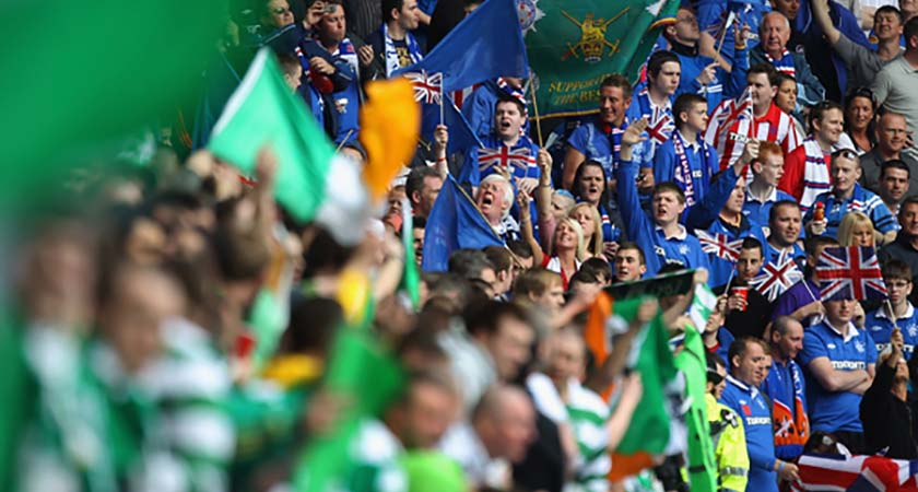 Rangers and Celtic fans at Ibrox Stadium on April 24, 2011 in Glasgow, Scotland. (Photo by Jeff J Mitchell/Getty Images)