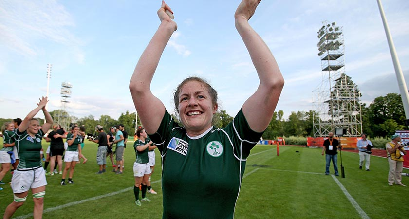 2014 Women's Rugby World Cup Pool B, FFR Headquarters, Marcoussis, Paris, France 5/8/2014 Ireland vs New Zealand Ireland's Fiona Coghlan celebrates after the game Mandatory Credit ©INPHO/Dan Sheridan