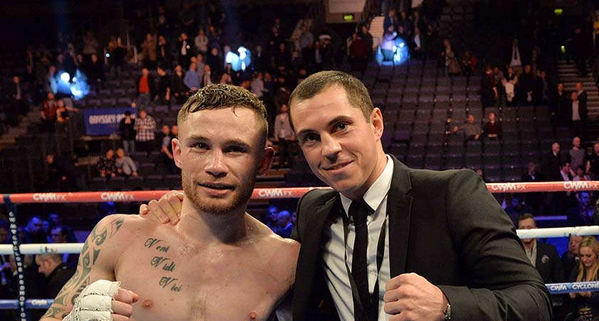 BELFAST, NORTHERN IRELAND - FEBRUARY 28:  Carl Frampton (L) with Scott Quigg (R) aftet Framptons victory for the IBF Super Bantamweight World Title at Odyssey Arena on February 28, 2015 in Belfast, Northern Ireland.  (Photo by Charles McQuillan/Getty Images)