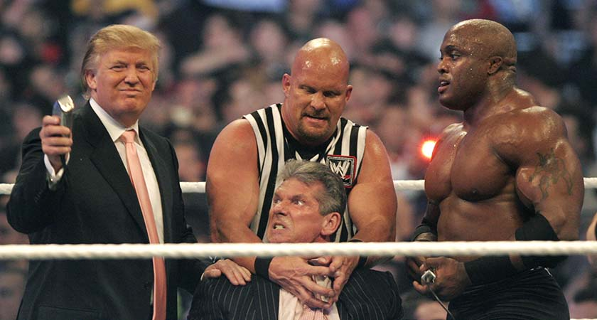 DETROIT - APRIL 1: WWE chairman Vince McMahon (C) prepares to have his head shaved by Donald Trump (L) and Bobby Lashley (R) while being held down by ''Stone Cold'' Steve Austin after losing a bet in the Battle of the Billionaires at the 2007 World Wrestling Entertainment's Wrestlemania at Ford Field on April 1, 2007 in Detroit, Michigan. Umaga was representing McMahon in the match when he lost to Bobby Lashley who was representing Trump. (Photo by Bill Pugliano/Getty Images) *** Local Caption *** Vince McMahon;Donald Trump;Bobby Lashley;Steve Austin