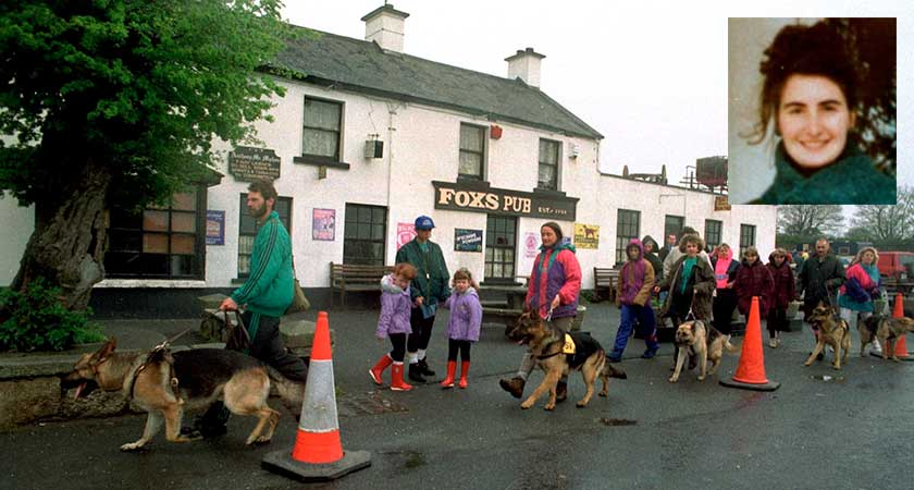 A search party sets out from Johnnie Fox's pub in 1993 looking for Annie McCarrick, inset