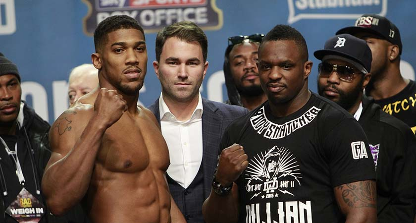 Anthony Joshua, left, is the big favourite against Dillian Whyte [Picture: Lawrence Lustig]