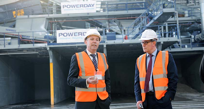 Andrew Richmond, Policy and Programme Manager at Greater London Authority (Waste) and Powerday MD Mark Bensted. Photo - Malcolm McNally