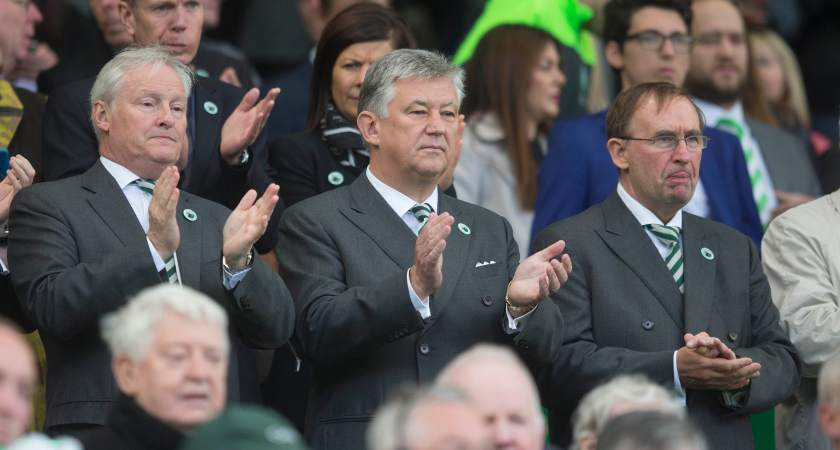 Celtic chief executive Peter Lawwell (centre) with chairman Ian Bankier (left) and director Eric Reilly (right) [Getty]