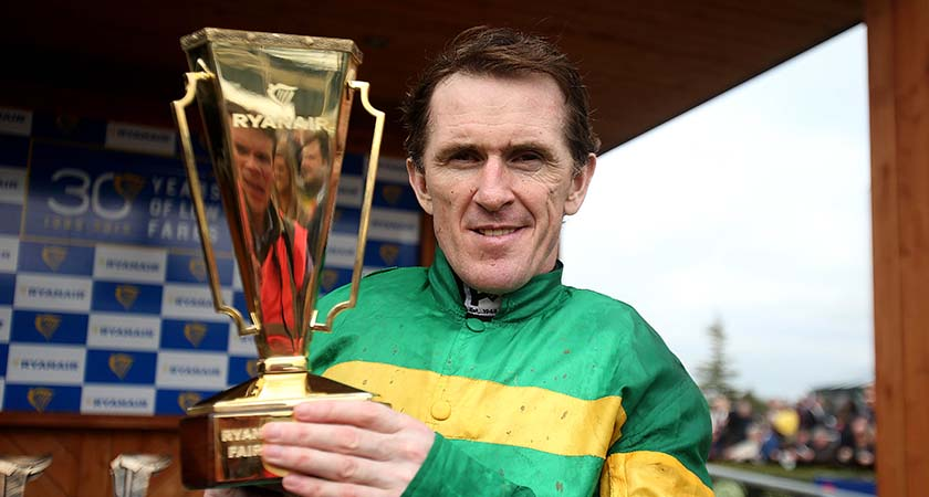 McCoy with the Ryanair Gold Cup after winning on board Gilgamboa Mandatory Credit ©INPHO/Donall Farmer