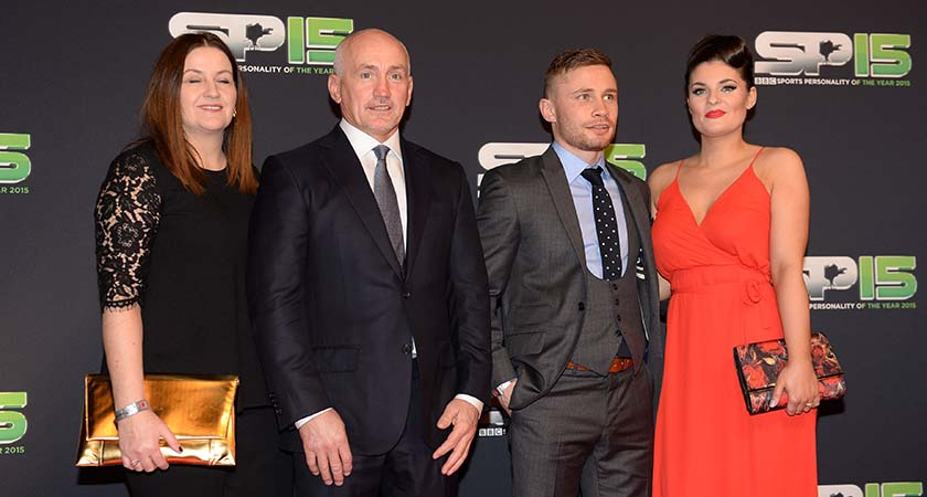 BELFAST, NORTHERN IRELAND - DECEMBER 20:  boxers Barry McGuigan and Carl Frampton with their partners on the red carpet before the BBC Sports Personality of the Year award at Odyssey Arena on December 20, 2015 in Belfast, Northern Ireland.  (Photo by Carrie Davenport/Getty Images)