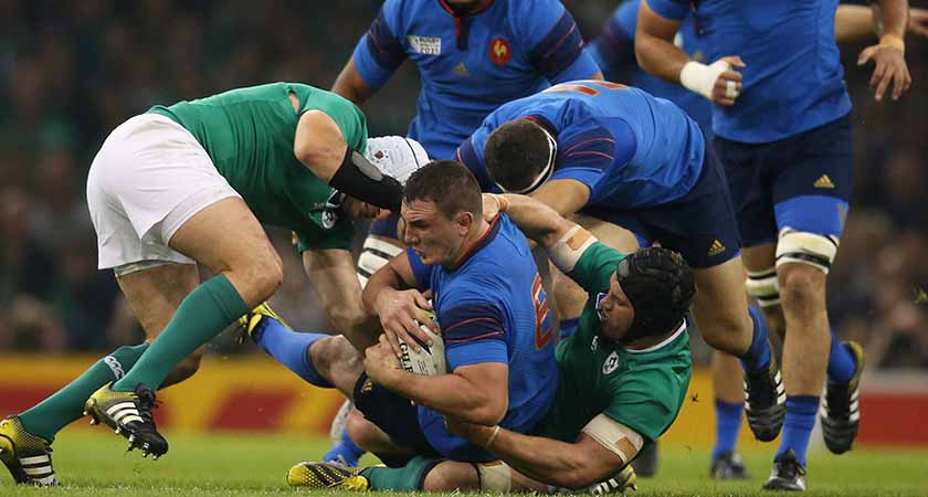 2015 Rugby World Cup Group D, Millennium Stadium, Cardiff, Wales 11/10/2015 Ireland vs France France's Louis Picamoles is tackled by Ireland's Sean O'Brien Mandatory Credit ©INPHO/Billy Stickland