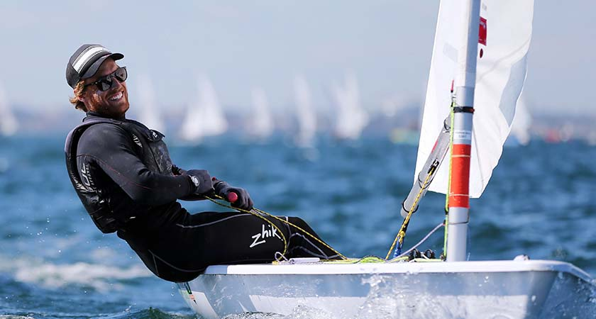 Laser European & World Sailing Championships, Dublin Bay, Dun Laoighaire 3/9/2013 Ireland's James Espey competing in the Men's Mandatory Credit ©INPHO/Cathal Noonan