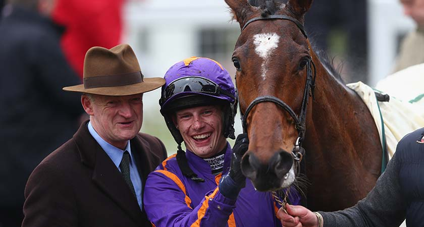 CHELTENHAM, ENGLAND - MARCH 13: Jockey Paul Townend and trainer Willie Mullins pose with Wicklow Brave after victory in the Vincent O'Brien County Handicap Hurdle Race during day four of the Cheltenham Festival at Cheltenham Racecourse on March 13, 2015 in Cheltenham, England.  (Photo by Michael Steele/Getty Images)