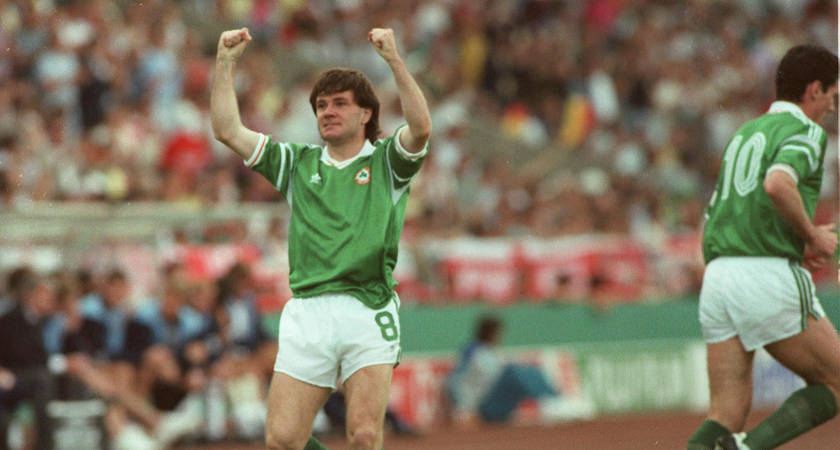 Ray Houghton celebrates his winner against England at Euro '88 [Picture: Inpho]