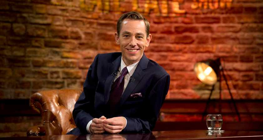 ***EMBARGOED TILL 21:35*** REPRO FREE: 09/01/2015 Ryan Tubridy pictured kicking off the New Year on the Late Late Show by unveiling a new set for the programme. This original design, which was created by Marcella Power, has been in development for months and the designers, Late Late Show producers and host have all been involved in the process. Guests on the first Late Late show for 2015 include Michael O'Leary, Nicky Byrne, Roisin Hogan, Deepak Chopra and Andy Lee. Picture Andres Poveda