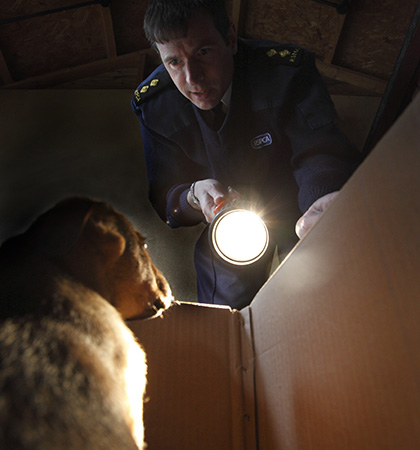 RSPCA Inspector Andy Eddy finds an abandoned puppy (Photograph by Andrew Forsyth/RSPCA)