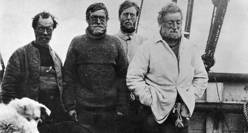 1909: Irish explorer Sir Ernest Henry Shackleton, in the southern party on board the vessel 'Nimrod', on their return voyage from the British Antarctic Expedition 1907?09 after reaching a point 97 miles from the South Pole, a record at the time.   (Photo by Spencer Arnold/Getty Images)