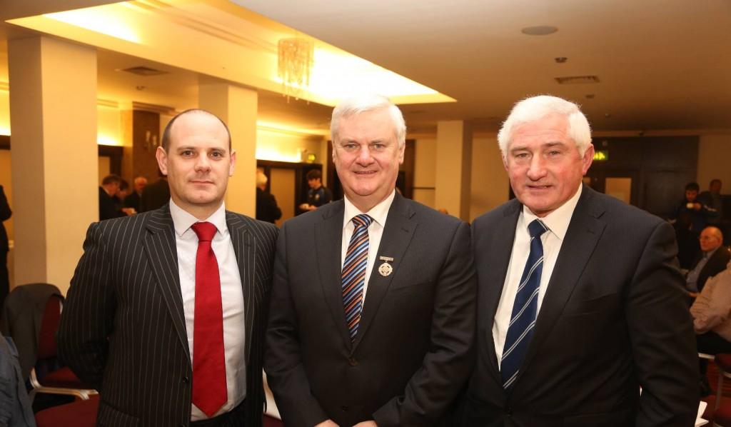 Sean Hackett, President of Council of Britain, GAA President Aogan O'Fearghail, Brendy Brian - Secretary Council of Britain