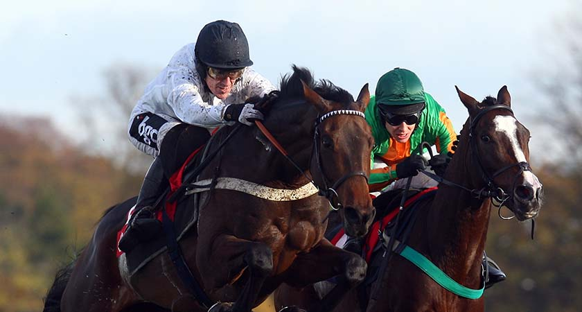ASCOT, ENGLAND - OCTOBER 31:  Tony McCoy and You're The Top lead the Richard Johnson ridden William Hogarth over the last flight before landing The Cushman and Wakefield Novices' Hurdle  Race run at Ascot Racecourse on October 31, 2009 in Ascot, England.  (Photo by Julian Herbert/Getty Images) *** Local Caption *** Tony McCoy;You're The Top;Richard Johnson;William Hogarth