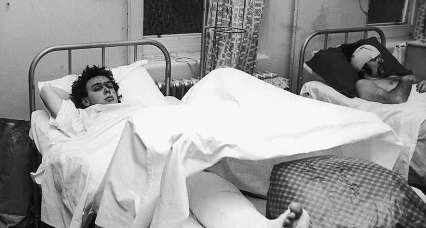 23 year-old Stuart Smith recovers from his injuries at the Birmingham Accident Hospital, 22nd November 1974. Smith was among the 182 injured in the Birmingham pub bombings by the I.R.A. on 21st November 1974. He was injured when a bomb exploded in the Tavern in the Town pub, just after an explosion took place at the nearby Mulberry Bush. Twenty-one were killed in the two attacks. (Photo by Wesley/Keystone/Hulton Archive/Getty Images)