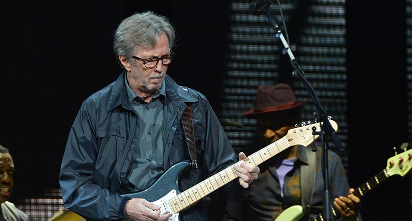 Hey big Fender! Eric Clapton plays a tricky chord. Picture: Getty