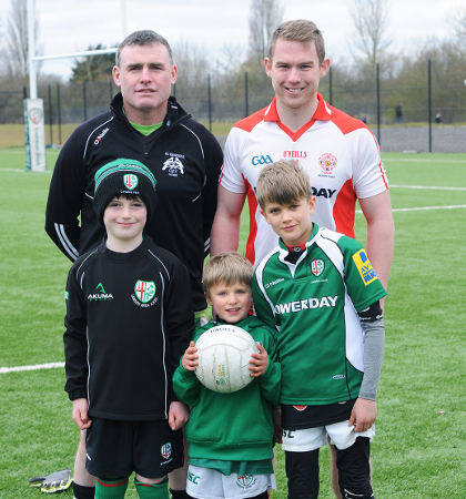 Youngsters Jamie O'Donovan, Henry Clark and Joseph Clark with Chris Byrne of St Kiernan's and TCG's Liam Gavigan [Picture: Mal McNally]