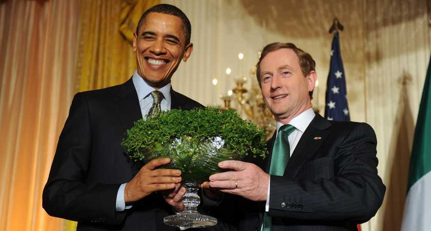 17/3/2011.Taoiseach Enda Kenny In Washington. Taoiseach and Fine Gael leader Enda Kenny gives President Barack Obama a bowl of shamrock in the White House, in Washington DC on St Patricks Day. President Obama confirmed to the Taoiseach that he will visit Ireland in May of this year. This was Enda Kennys first official trip as Taoiseach to the United States of America. Photo: RollingNews.ie/DFA